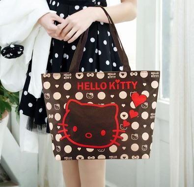 2015 новый Hello Kitty сцепления shopper большая сумка через плечо женщины мультфильм холст большой повседневный tote сумочка bolsa сако сумки 5