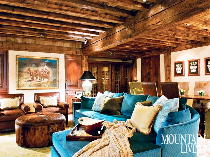 Charming Rustic Family Room In A Big Sky, Montana Home. Interior Design By Debra  Shull