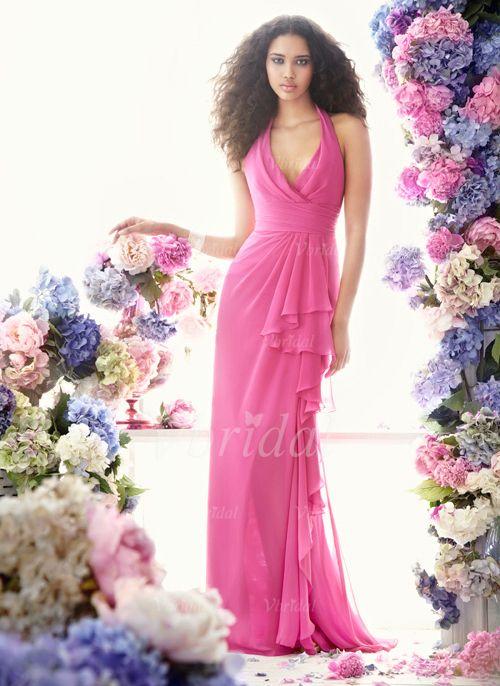 Bridesmaid Dresses - $99.99 - A-Line/Princess Halter Sweep Train Chiffon Bridesmaid Dress With Ruffle (00705006315)