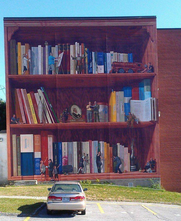 Gracias a los maestros Christine Trompe l ' oeil en la pared exterior de una escuela en Sherbrooke, Québec