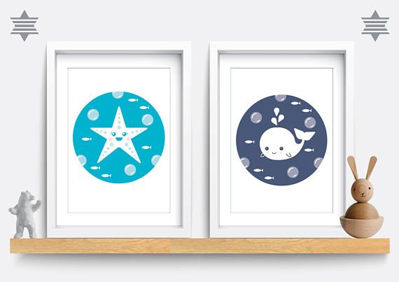 Set of 2. Baby Nursery Print - Star fish and whale, Baby Nursery Decor, Sea Nursery Wall Art, Baby Boy Gift, Star fish print, Whale print