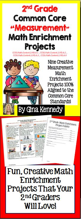 "This is a must have for any 2nd grade Common Core classroom. Nine creative differentiated ""measurement"" math projects that correlate with the following standards: CCSS.Math.Content.2.MD.A.1 , CCSS.Math.Content.2.MD.A.2 , CCSS.Math.Content.2.MD.A.3 , CCSS.Math.Content.2.MD.A.4 These menus are excellent for early finishers, high achievers and talented and gifted students in your classroom or as homework for the whole class. They can even be cut apart as task cards and assigned to cooperative.$"