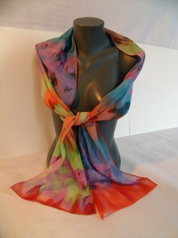 Pas à vendre, étole en soie multicolore peinte à la main