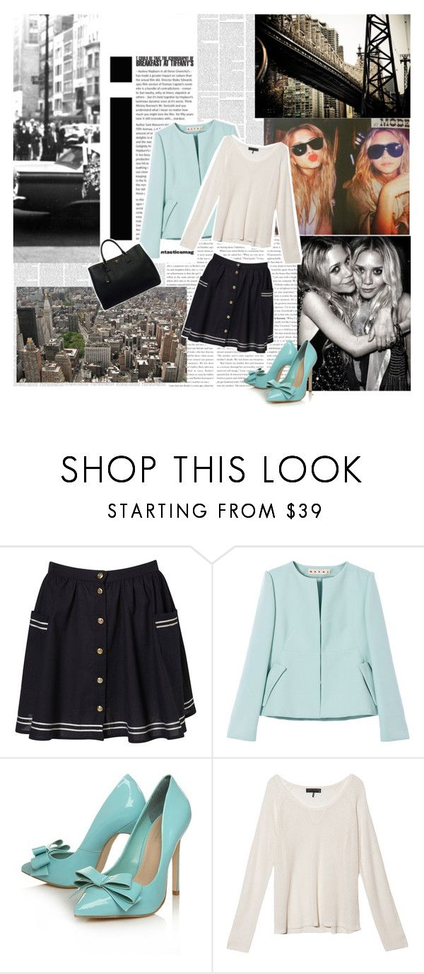 """""""the high life..."""" by chic-envy ❤ liked on Polyvore featuring Olsen, Marni, Behance, Carvela Kurt Geiger, rag & bone, Prada, top handle bags, pleated skirts, box jackets and mary kate"""