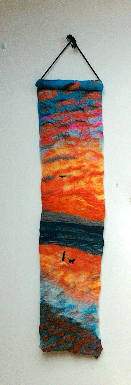 4ft long Irish scene  felted wall hanging  by FlowerfeltbyJayne