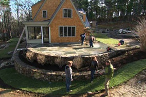 This Old House - nearly finished patio at the Essex house project. I want this retaining wall and patio