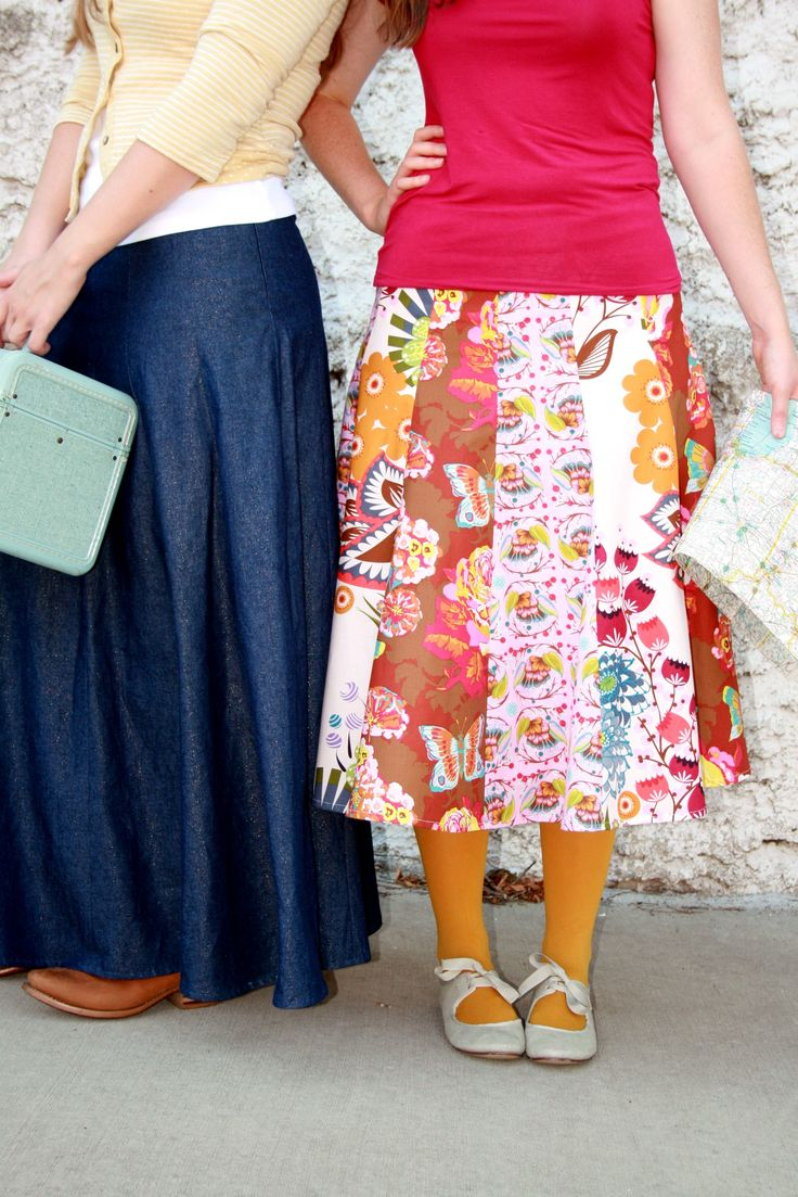 "custom crafted route 66 29"" (mid-calf length) cotton skirts or 39"" denim long skirt -  pattern or custom made - by Marie-Madeline Studio"