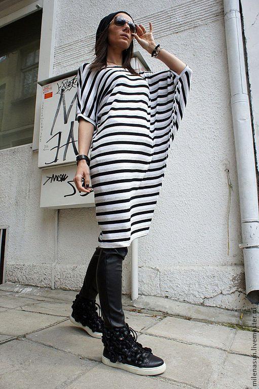 Купить Полосатая туника-платье Assymetric - в полоску, тельняшка, туника, платье, длинная туника