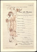 May 18, 1903 – Milan, Italy, Villino Hoepli. The list of dishes served contains interesting and playful references to Dante Alighieri's Divine Comedy. The graphic design is the in the art nouveau style. The lunch was held in honor of Francesco D'Ovidio (1849–1925), a well-known humanist from Molise,German literature and linguistics specialist, classics professor.