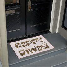 Happy Diwali Greeting Cute Typography Door Mat