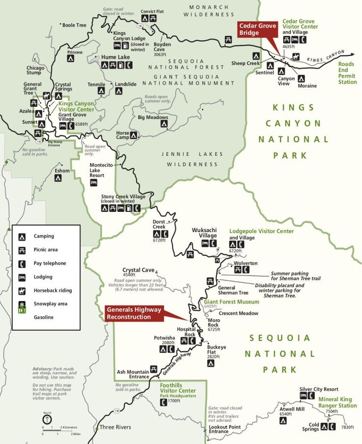 AAA Sequoia & Kings Canyon National Parks Map: Alta Peak, Boyden Cavern, Cedar Grove, Crystal Cave, Giant Forest, Grant Grove, Lodgepole Village, Mineral King, Moro Rock, Pacific Crest Trail, Thre