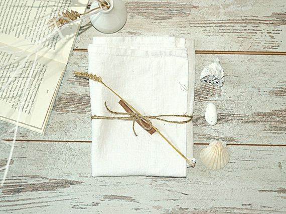 Whitened linen towel - Natural linen hand / face towel - Spa home accessories - Bathroom white linen accessories - Natural tea linen towel
