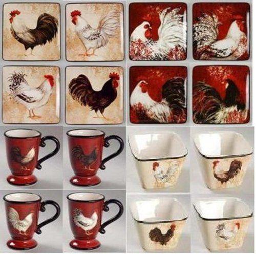 Avignon Rooster 16 Piece Set - Chicken Dinnerware Presents for Chicken Lovers & 142 best Susan Winget Dinnerware images on Pinterest   Cutlery ...