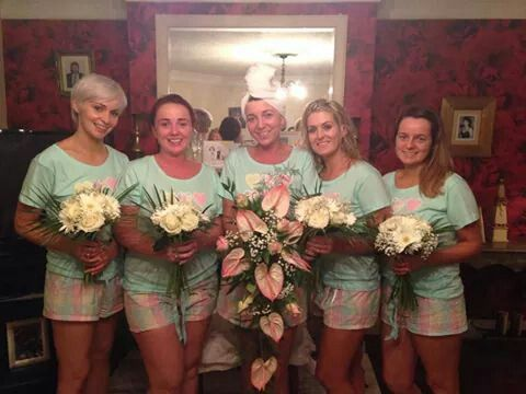 the night before with our flowers and jammies