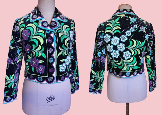 Emilio Pucci vintage fluwelen jasje geometrische 70s op-art mod 1960 psychedelische floral Boheemse bolero collared vet afdrukken bloem bladeren mod