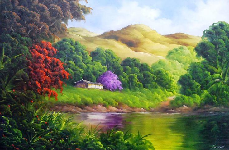 A paisagem abaixo foi uma encomenda. . . espero que apreciem a combinação de cores. Óleo Sobre Tela 60cm x 90cm Detalhe ...