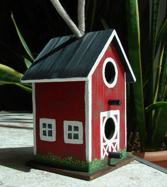 Hand Painted Birdhouse 4  Red Barn  small by JMBArtCreations, $9.99