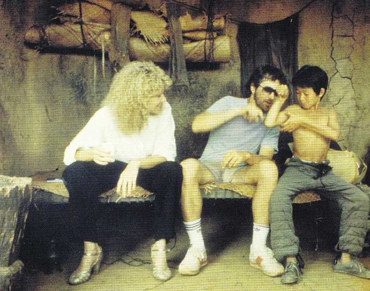 Kate Capshaw Steven Spielberg and Jonathan Ke-Quan on the set of Indiana Jones and the Temple of Doom