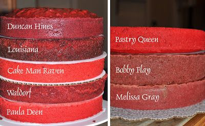 Red Velvet Cake recipe comparison: Grandmother Paula's Red Velvet Cake – Paula Deen; Cake Man Raven's Southern Red Velvet; Waldorf Astoria Red Velvet Cake; Bobby Flay's Red Velvet Cake; Louisiana Red Velvet; The Pastry Queen, Rebecca Rather's Christmas Red Velvet Cake; Melissa Gray's Dark-Chocolate Red Velvet Cake; Duncan Hines Red Velvet Box Mix // She had 25 people taste test RV cakes. Cake Man Raven's won!