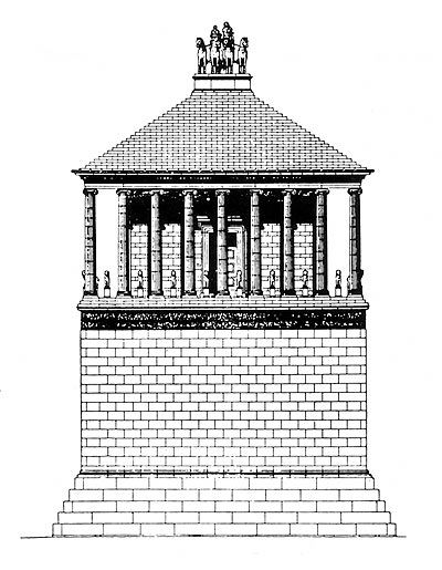 Drawing reconstruction of the Mausoleum at Halicarnassus, attributed to Skopas, mid-4th cent. B.C