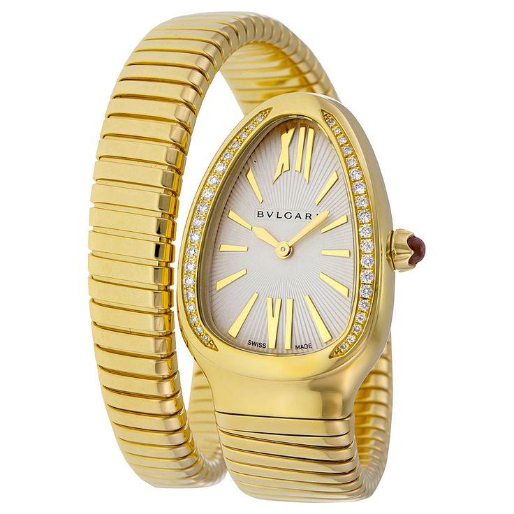 bvlgari serpenti tubogas silver opaline dial 18kt yellow gold quartz ladies watch