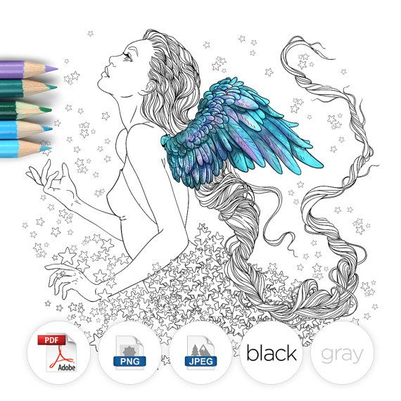 Download And Print To Color Angel With Long Hair Lovely Design
