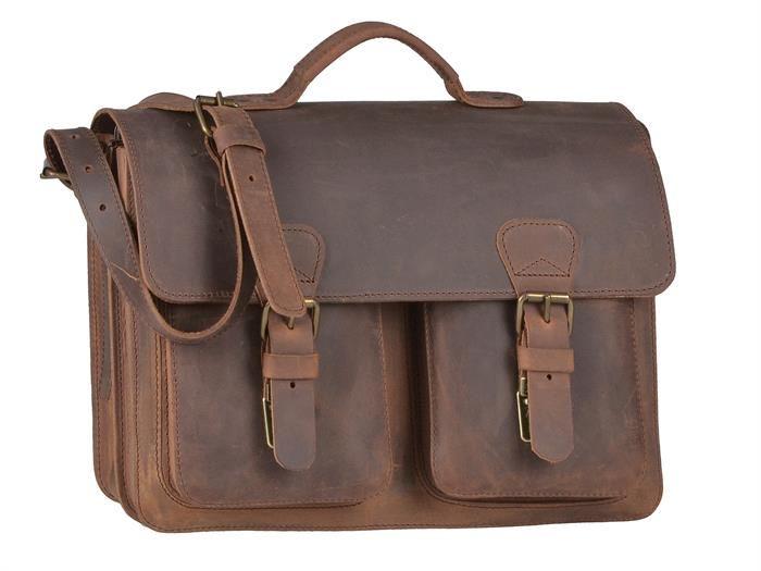 Aktentasche mit 2 Fächern Leder Herren Damen Schultasche Lehrertasche Businesstasche Tasche Umhängetasche ranger braun