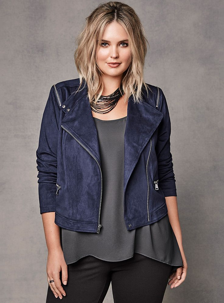 Plus Size Faux Suede Zip Moto Jacket