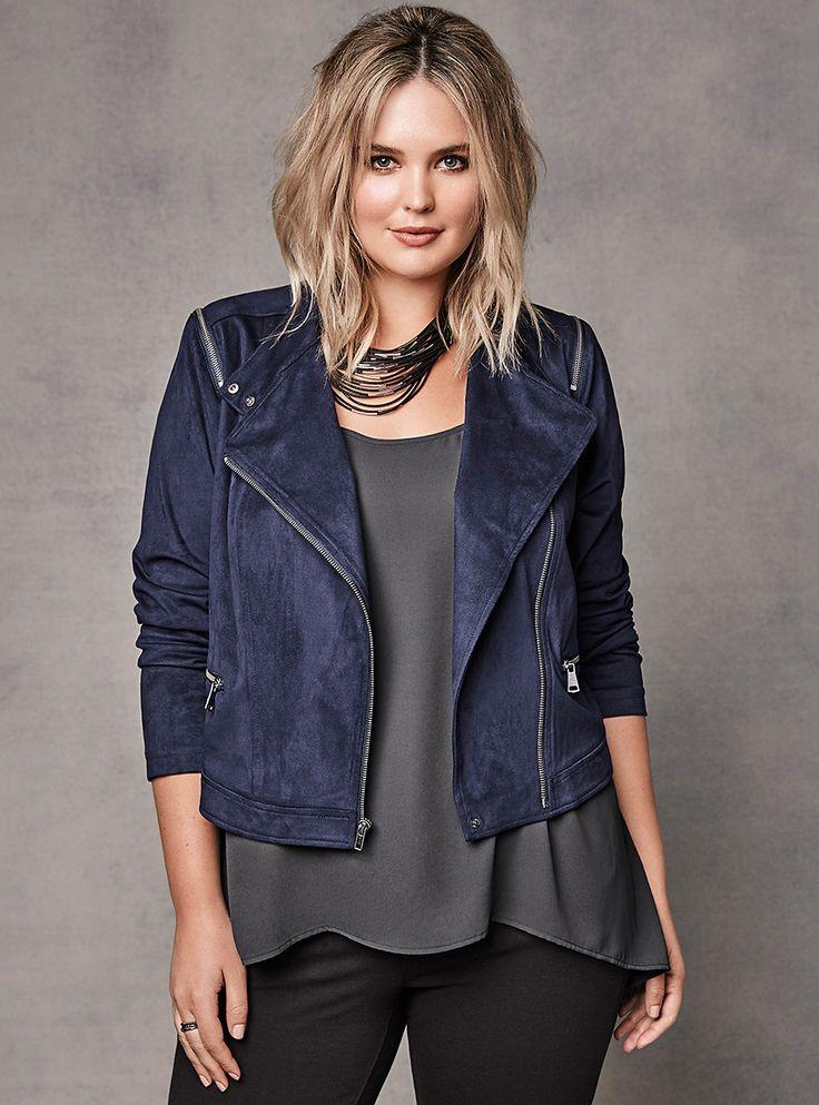 Plus Size Faux Suede Zip Moto Jacket