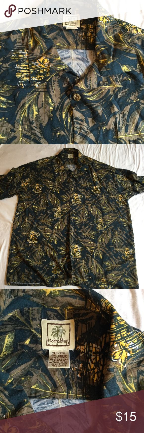 Men's tropical camping Hawaiian shirt XLT Blue button front  collared  XLT extra large tall Chest is 28 inches  length is 36 inches morro bay Shirts Casual Button Down Shirts