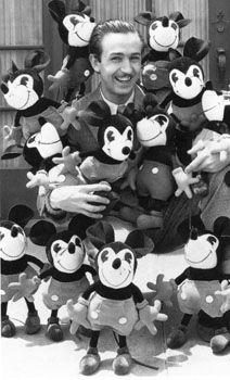Walt Disney with lots of plush Mickey Mouse toys. Looks dead on Edward Norton way cool!!!!!