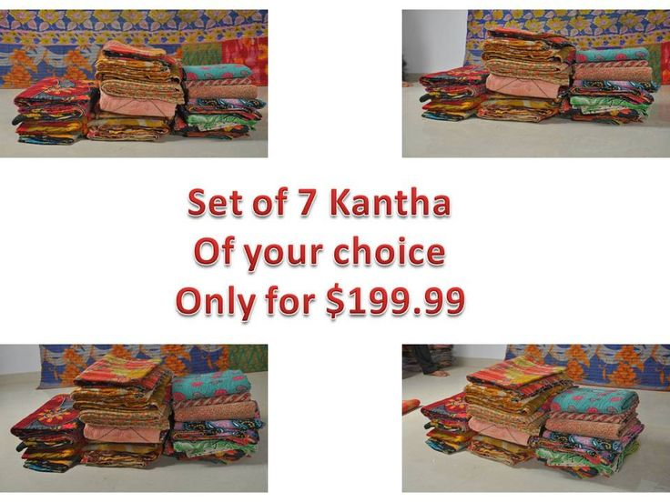 Combo DEAL Set of 7 Vintage Throw Kantha Quilt of your Choice Reversible Gudri Bedspread bohemian Bedding Hand-stitched Quilt by MatureSourcing on Etsy