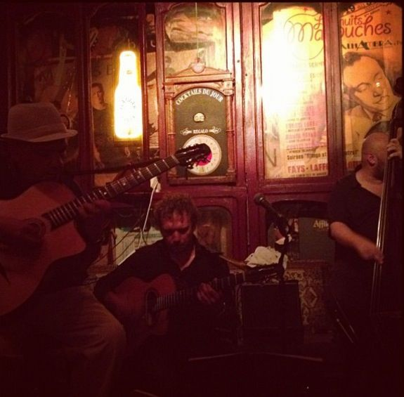 gypsy-jazz music by Rodolphe Raffalli Trio at Le Piano Vache. 8 Rue Laplace, 75005 Paris