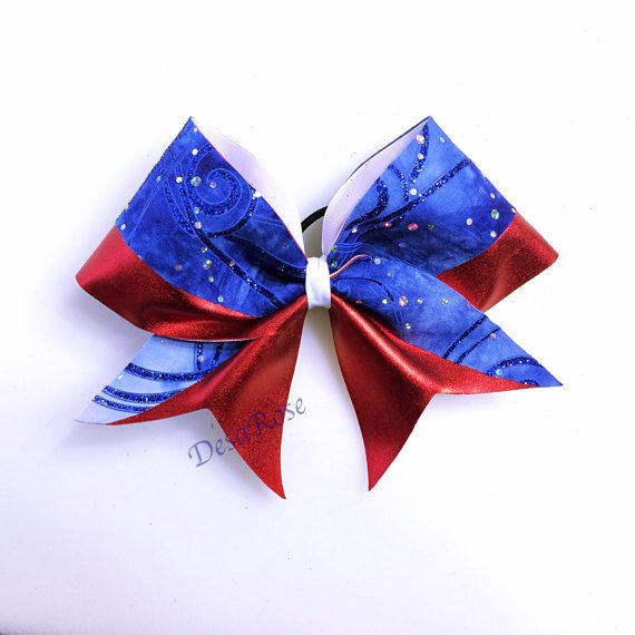 Red White and Blue Cheer Bow by desarosebowtique on Etsy, $15.00