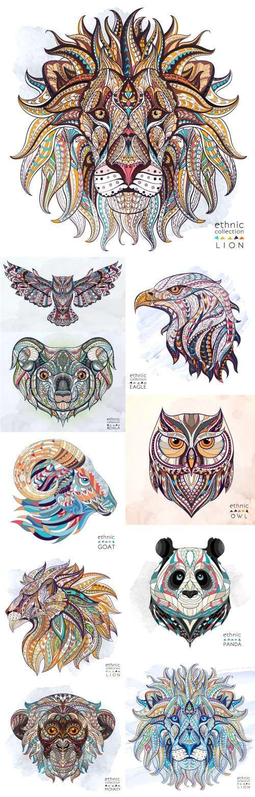 Ethnic Patterned Animal Head. Totem. Tattoo design. T-shirts - 19 Vector: