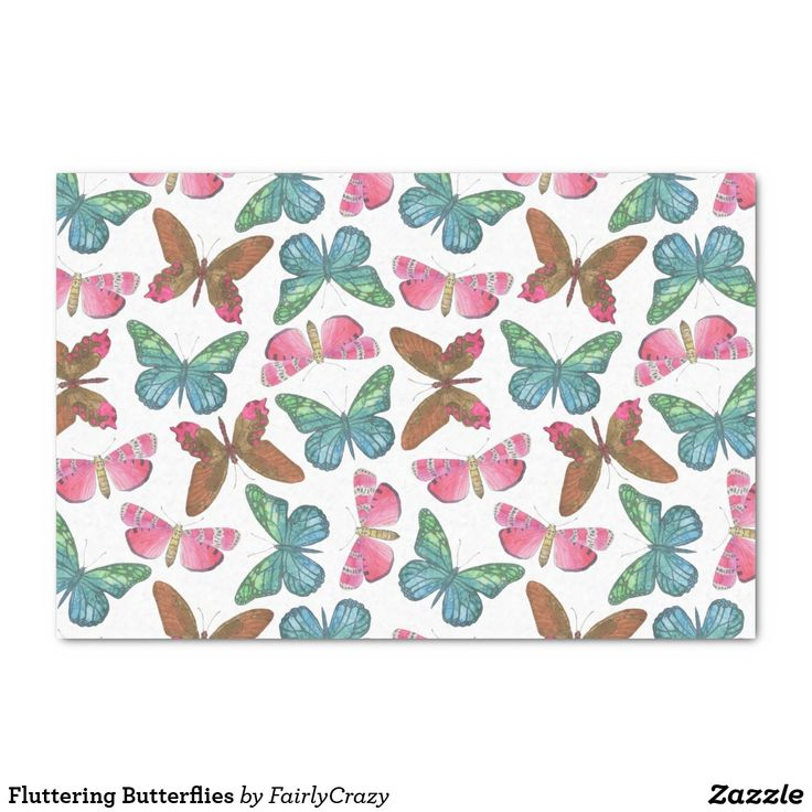 Brown and Pink Fluttering Butterflies Tissue Paper