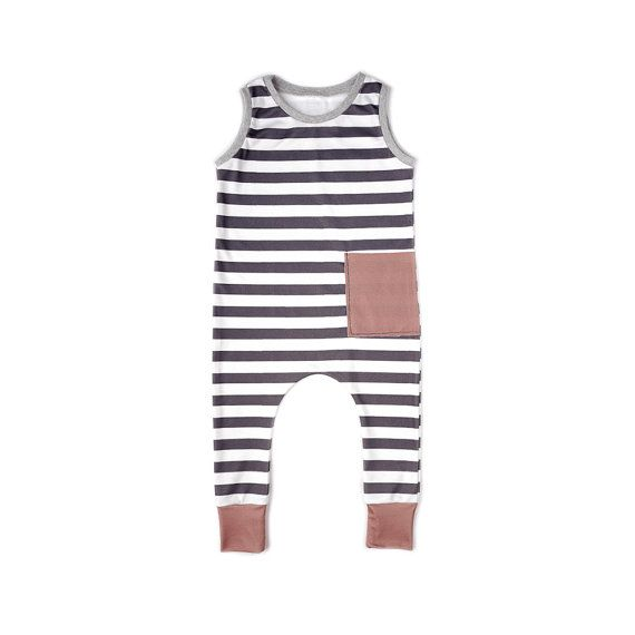 Black and White Striped Romper Baby Toddler by fawnkidsclothing