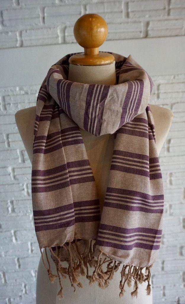 Handmade in Thailand - Purple striped scarf