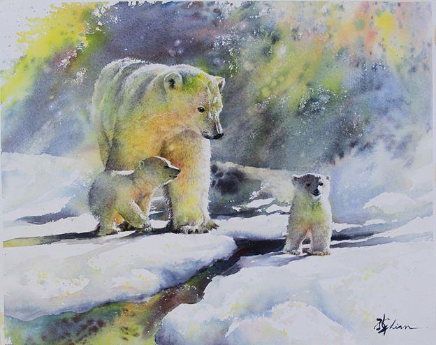 Lian Quan Zhen: 'Polar Bears', watercolour