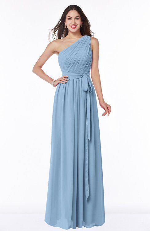 55909c701b ColsBM Fiona Dusty Blue Classic A-line Asymmetric Neckline Chiffon Floor  Length Sash Plus Size Bridesmaid Dresses