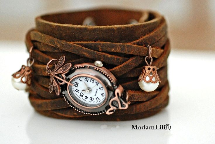 Skórzany zegarek handmade na ręke  ♥ Lot w szczęście ♥ #Ribell #MadameLili #zegarki #modadamska >> Wybierz Twój na: https://www.ribell.pl/zegarki-recznie-robione-handmade