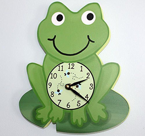 Kids' Room Clocks - Frog Wooden WALL CLOCK for Kids Bedroom Baby Nursery WC0060 *** More info could be found at the image url.