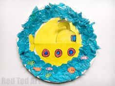 Rocking Paper Plate Submarine Craft for Preschoolers - super fun little summer craft for toddlers and preschoolers - make your Paper Plate Yellow Submarine. So cute! A perfect Ocean craft. Oh.. and it rocks... Yay! Love Rocking Paper plate crafts.