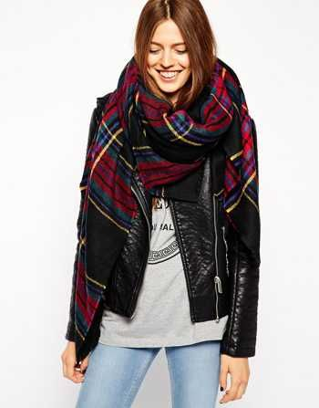 We adore this ASOS Oversized Black Check Square Scarf.