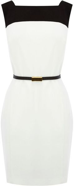 Oasis Drape Back Colour Block Dress in White (black). Cute for work...if I didn't need steel toe boots and a hard hat.  lol
