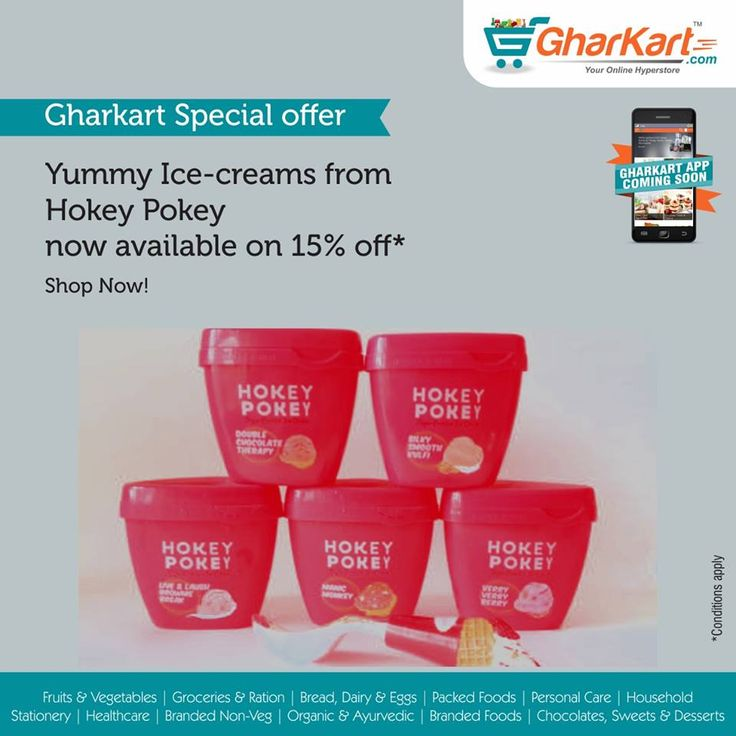 Now relish on yummy Hokey-Pokey ice-cream on sale upto 15% off* Follow the link: http://www.gharkart.com/…/chocolat…/desserts/ice-creams.html #Gharkart #Onlineshopping #Groceries #homeneeds #onlinegrocery #hyperstore #hypermarket