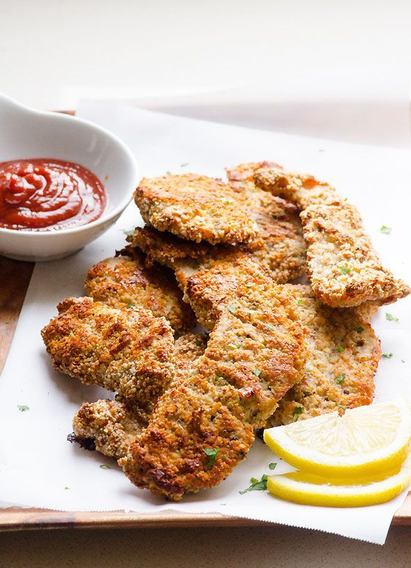 Almond Crusted Chicken Recipe is baked instead of fried, and coated in ground almonds in place of breadcrumbs. Kids didn't miss breadcrumbs! | ifoodreal.com