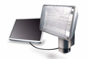 """Aluminum 80-LED Solar Motion Detector Light by Maxsa - New Model!  Even Brighter!  ML: Good product, I think... add an internal house alert, and some kind of infrared (invisible) canon and camera... so when the light goes on, you can """"dicretely"""" verify the sorroundings."""