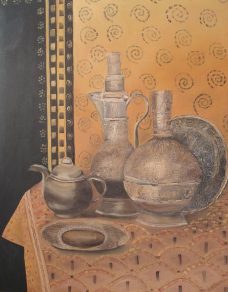 Oil painting - Embellished Pots painted by Bernadette Gie