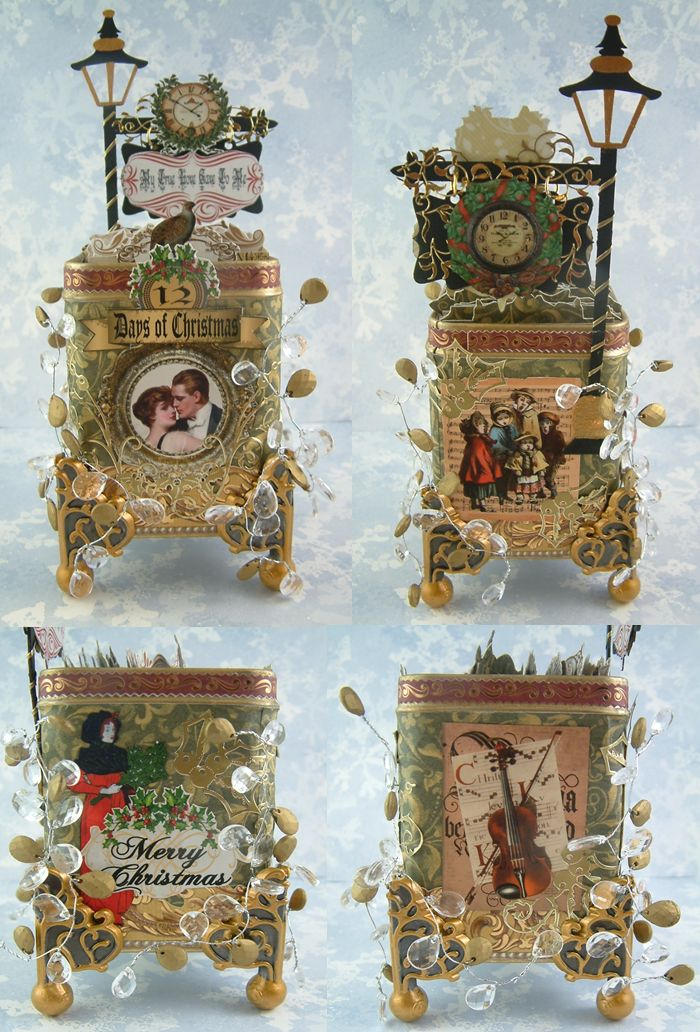 """Altered Tea Tin - For displaying and storing ATCs - To see more of my art, download free images, and learn new techniques checkout my Blog """"Artfully Musing"""" at http://artfullymusing.blogspot.com"""